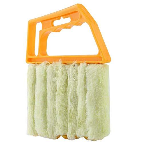 Wischbürste für Fensterjalousien und Klimaanlagen, waschbar, abnehmbar, 7 Latten gelb