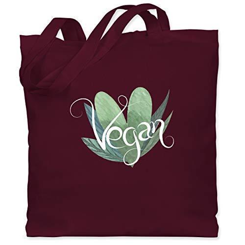 Shirtracer Statement - Vegan Lettering - Unisize - Bordeauxrot - stoffbeutel vegan - WM101 - Stoffbeutel aus Baumwolle Jutebeutel lange Henkel