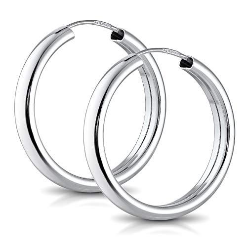 MATERIA Silbercreolen 925 Damen 25mm gross - Silber Ohrringe rund breit für Frauen mit Schmuck Schachtel SO-130