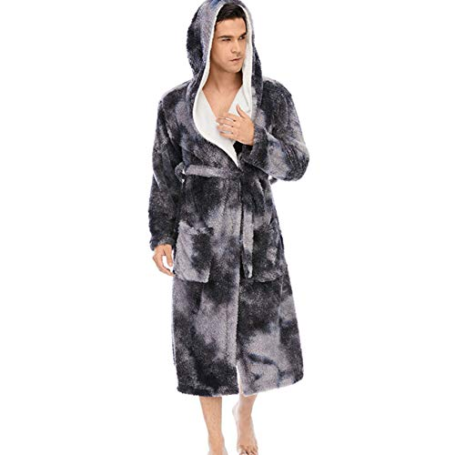 LZJDS Bata de baño con capucha para hombre, chaqueta de forro polar coral, bata de dormir, bata suave, para casa, gimnasio, spa y hotel, invierno L-2XL, gris azul, L