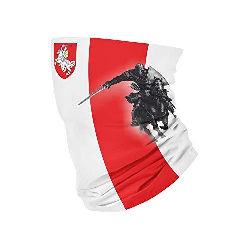 Terraberk Stemma White Knight - Ghetta per collo con protezione UV, fascia per capelli, sciarpa, Buff - Bandiera nazionale Bielorussia - Bandiera Pagonya - Liquidi - Bandiera della libertà