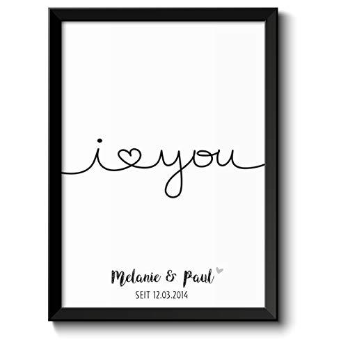 I LOVE YOU Bild mit Namen & Datum personalisiert optional im Holz-Rahmen Geschenk Geschenkidee Liebeserklärung Paare