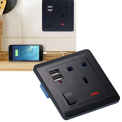 Tomacorriente de Pared, Enchufe de Pared, 2 Puertos USB PC Negro + Cobre para Dormitorio, Oficina, hogar, Sala de Estar