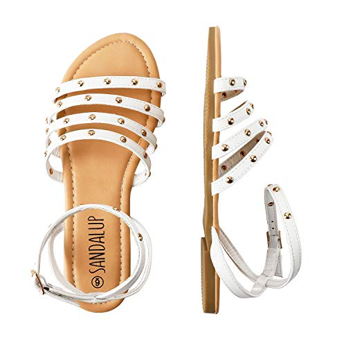 SANDALUP Flat Sandals with Round Rivets and Adjustable Buckle for Women White 08