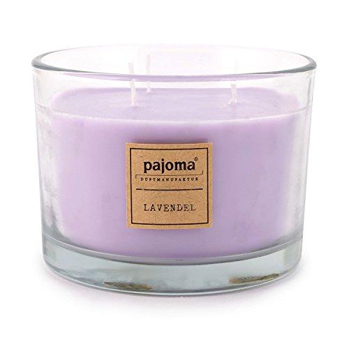 Pajoma geurkaars lavendel, 340 g, in glas met houten deksel, Premium Edition, voor ongeveer 40 uur