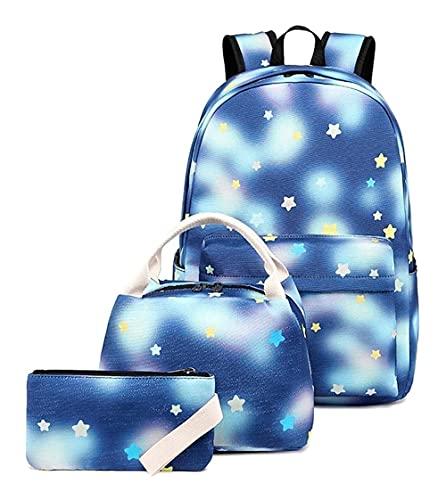 X/L Mochila escolar espacial para niñas, juego de 3 bolsas escolares con bolsa de pencile y bolsa de almuerzo, mochila ligera para niños de gran capacidad para niños y niñas (color azul)