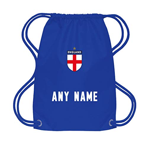 Sportees Retro Kids Child Personalised Royal Blue England Away Style Tournament Football Kit Bundle FREE Boot Bag With Latest Style Youth Football England Boys Or Girls Football Jersey - 7/8 Years