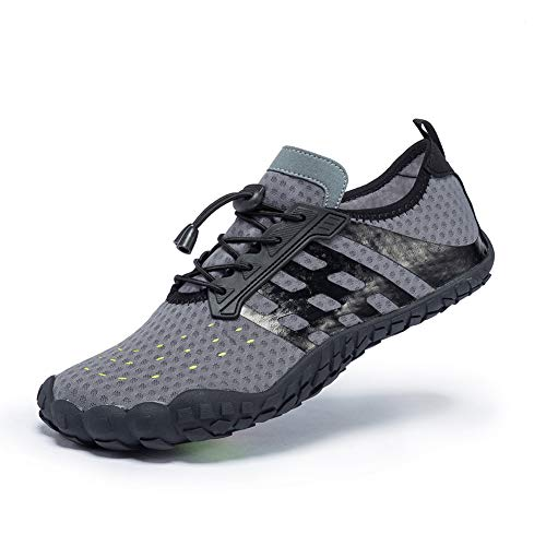 FEIFAN Womens Water Shoes Beach Swim Barefoot Athletic Shoes Yoga Kayaking Boat Diving Fivefinger Grey 37