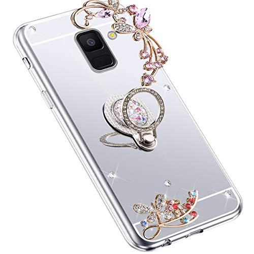 Uposao Kompatibel mit Samsung Galaxy A8 2018 Hülle Glitzer Spiegel TPU Schutzhülle Bling Strass Diamant Silikon Hülle Glänzend Kristall Blumen Silikon Handyhülle mit Ring Ständer Halter,Silber