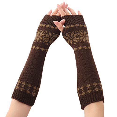 happy event Frauen Winter Handgelenk Arm feste warme gestrickte lange fingerlose Handschuhe Fäustling (Kaffee)