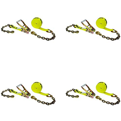 US Cargo Control 2 Inch x 30 Foot Wide Handle Yellow Ratchet Strap with Chain Extensions and Clevis Grab Hooks 4 Pack