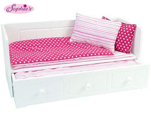 18 Inch Doll Furniture, White Day Bed with Trundle and Bedding, Fits 18 Inch American Girl Dolls & More! Doll Day Bed with Trundle