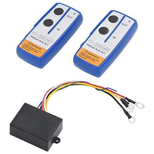 Tidyard 2X Funkfernbedienung für Elektrische Seilwinde Winde mit Empfänger Batterien Kabellos Fernbedienung Funk-Fernbedienung 23m 12V 433Mhz