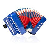 Kmise ミニ アコーディオン ボタン式 7鍵 2ベース 子供用 知育楽器 習得簡単 (ブルー)