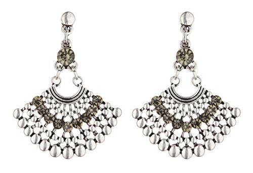 Clip On Earrings - Antique Silver Plated Aztec Design Dangle Earring With Crystals - Bem S
