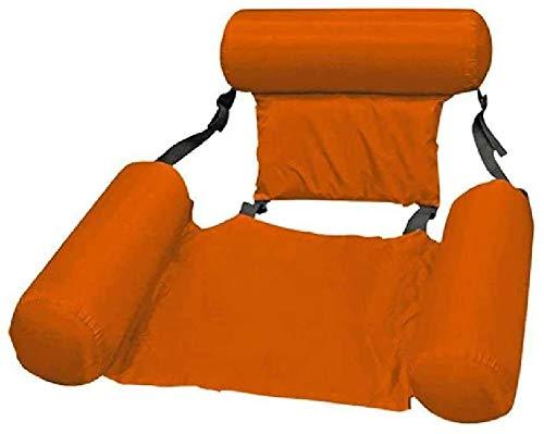 Cama inflable, hamaca 4 en 1, tumbona de piscina, tumbona de aire, colchoneta para piscina, juguete, portátil, hamaca de agua para adultos, color naranja