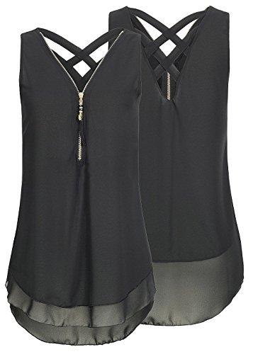 Flying Rabbit Damen Shirt Chiffon Bluse Langarmshirt mit Reißverschluss Vorne V-Ausschnitt Tops T-Shirt, L, Schwarz