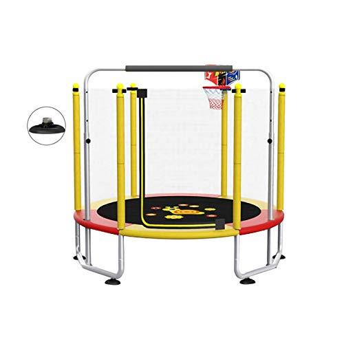 Portable Fitness Trampoline Silent Trampoline with Safety net and Horizontal Bars, Suitable for Indoor and Outdoor Use (Color : Yellow)
