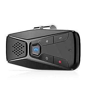 NETVIP Manos Libres para Coche Bluetooth 5.0 Auto Power On Altavoz Bluetooth Coche Inalámbrico para Conecta con Siri, Google Asistente Soporta GPS y Música,Conectar Dos Teléfonos