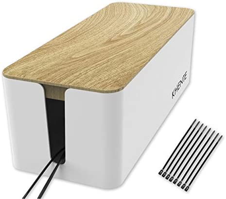KHENTE Cable Management Box with 15 Reusable Cable Ties I Cable Box to Hide and Organize Your product image