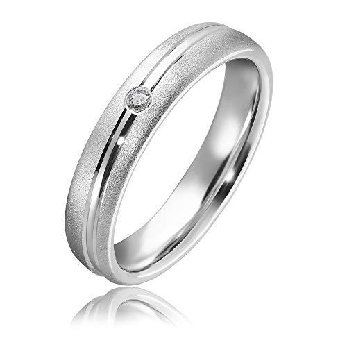 Wunderschöner Verlobungsring mit Swarovski Zirconia 925 Sterling Silber Antragsring Damenring Ring Silber mit Platin beschichtung / Weißgold AG.24 (55)