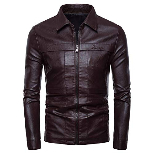 EverNight Mens Vintage Biker Jacket,Motorcycle Cafe Racer Leather Jackets,Winter Zipper Buttons Fashion Coat,Brown,XXL
