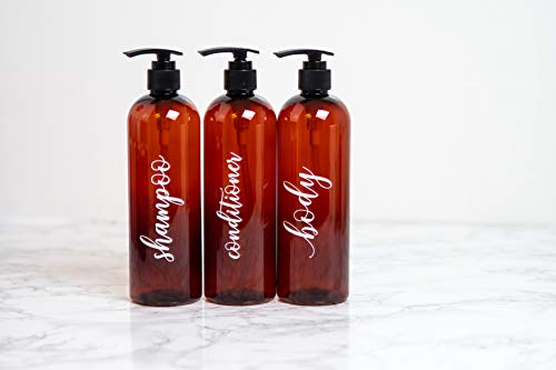 Labeled Shower Bottles Refillable, Amber Plastic Bottles with Pump 16 oz, Set of 3, Shampoo Conditioner and Body Wash Dispensers for Shower