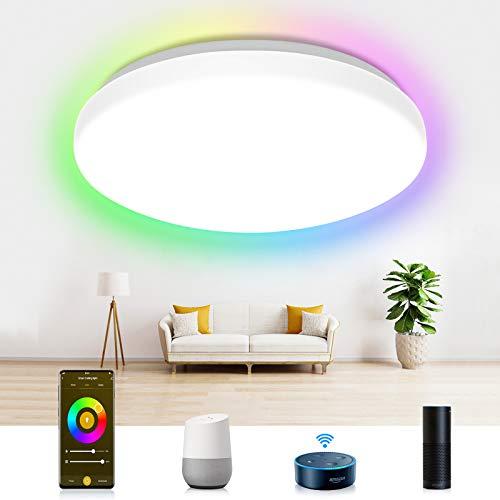 Plafón LED Techo Alexa Lámparas LED Techo WiFi, Etersky Plafon RGB Inteligente con RGB+CW+WW, Compatible con Alexa, Google Home, Control APP, 2700-6500K, 24W IP54, 2400LM, para Cocina Baño Balcón