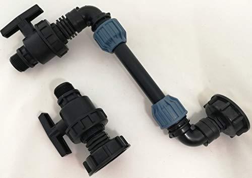 CMTech GmbH Montagetechnik SHKV25_KH94A* - Juego de 2 casetas para Paredes + Grifo para Tanque de Agua de Lluvia, jardín