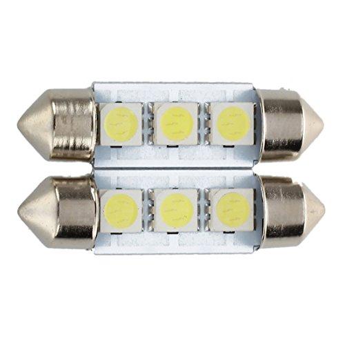 SODIAL 2x C5W 3 LED SMD 5050 34mm Plaque Xenon Blanc Ampoule navette Festons dome plafonnier voiture lumiere