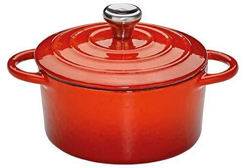 Küchenprofi Provence - Olla redonda de hierro fundido (10 cm), color rojo
