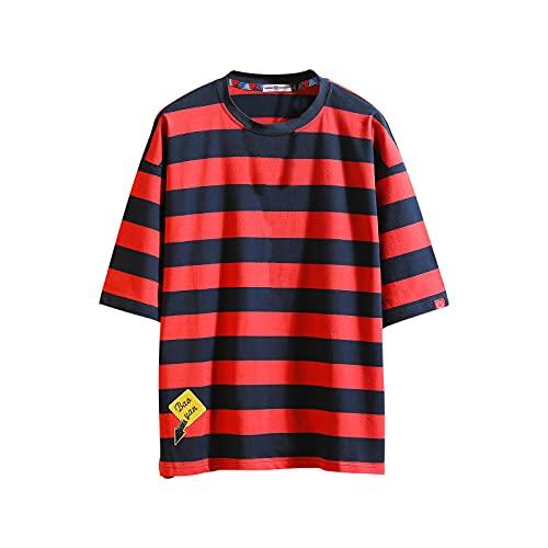 Camiseta de manga corta para hombre Hipster Hip-Hop con estilo Harajuku, 9104rojo, XL/3XL