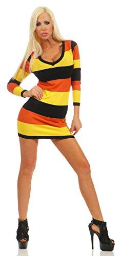 Fashion4Young 3584 Damen Minikleid Langarm Tailliert Streifen Feinstrick Dress V-Ausschnitt (braun-gelb-schwarz, 34-36)