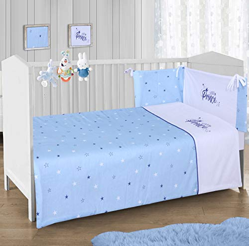 CnA Stores – Little Prince Blue Stars Boys Cot Bed Baby Bale Bedding Set Cot Quilt, Bumper and Fitted Sheet