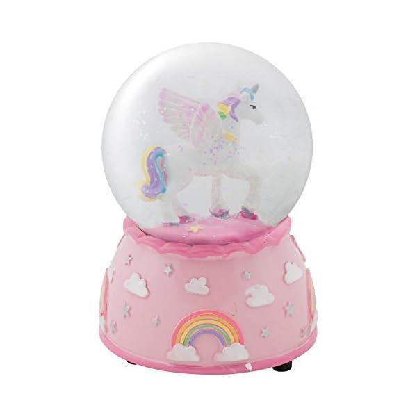 Elanze Designs Unicorn Rainbows on Pink Musical 80MM Water Globe Plays Tune The Unicorn 5
