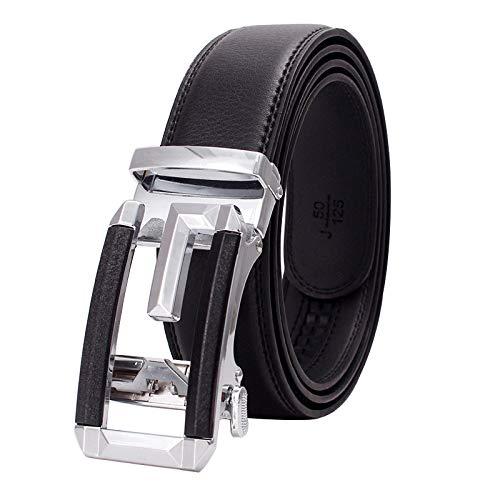 Xme Cinturón de cuero para hombres, cinturón de hebilla automática para hombres, cinturón de negocios para hombres
