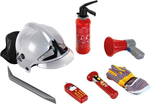 Theo Klein 8928 Set de bomberos, Set de 7 piezas con casco, linterna y mucho más, Extintor con función de rociado, Medidas del embalaje: 52.4 cm x 35 cm x 20 cm, Juguete para niños a partir de 3 años