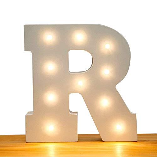 Letras con luces LED a pilas, letras del alfabeto decorativas, de madera, para decoraciones de boda, color blanco cálido, de Kingcoo
