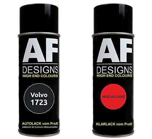 Autolack Spraydose Set für Volvo 1723 Conger Black Basislack Klarlack Sprühdose 400ml