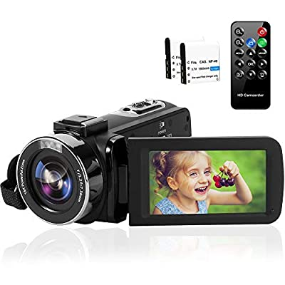 Camcorder 1080P 60FPS 42MP Video Camera 18X Digital Zoom 3.0'' HD Screen YouTube Camera with Remote Control and Two Batteries by