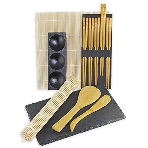 arramis® Sushi Tool Box (11-teilig) - Sushi Set zum selber Machen - Sushi Maker - 2 Rollmatten - 3er Dipschale - 5 Paar Sticks - 2 Reislöffel - 1 Schieferplatte