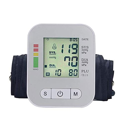 Qin Blood Pressure Monitor - Automatic Upper Arm Machine & Digital Adjustable Digital BP Cuff Kit, Pulse Rate Monitoring Meter, Backlit Display