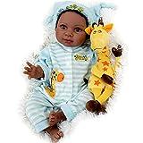 Milidool Black Reborn Boy Doll 22 Inch Lifelike African American Newborn Baby Dolls with Giraffe Gift Set