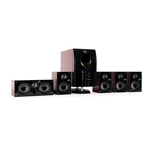 """auna Areal 525 WD Sistema Sonido Envolvente 5.1 • Home Cinema Surround • 125W RMS • Subwoofer emisión Lateral 5,25"""" • Bass Reflex • 5 Altavoces satélite • Apagado automático • Marrón"""