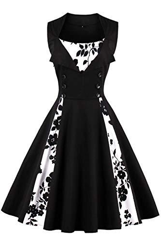 Axoe Damen 50er Jahre Cocktailkleid Rockabilly Elegantes Faltenrock Festliches Partykleider Vintage Kleid Audrey Hepburn Abendkleider mit Polka Dots Knielang, Schwarz-polka Dots, 5XL (52 EU)