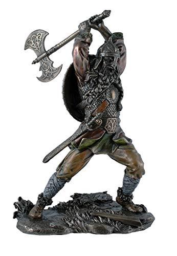 Unbekannt Deko Figur Wikinger greift mit Axt an bronziert 22 cm Figur Skulptur Mittelalter Vikings