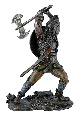 Unbekannt Figura Decorativa de Vikingo con Hacha, Bronce, 22 cm