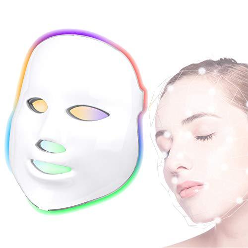 Máscara Led Facial Profesional 7 Colores Mascara de Rejuvenecimiento Terapia de Rojo Azul Luz Fototerapia Antiacne Fotón Tratamiento para Cuidado de la Piel - Blanco