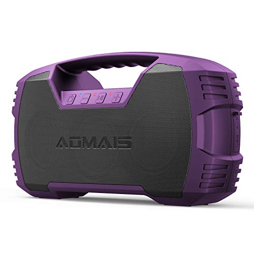 AOMAIS GO Bluetooth Speakers, 40H Playtime Outdoor Portable Speaker, 40W Stereo Sound Rich Bass, IPX7 Waterproof Bluetooth 5.0 Wireless Pairing,10000mAh Power Bank, for Party, Travel-Purple