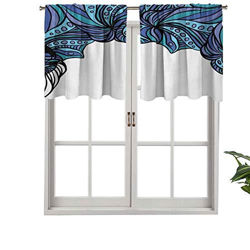 Hiiiman Cortinas opacas con patrón de tentáculos de bolsillo para barra con partes entrelazadas trenzadas marina, juego de 1, 132 x 45 cm para sala de estar, dormitorio, decoración del hogar